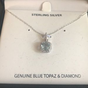 NIB Sterling Silver Genuine Blue Topaz & Diamond